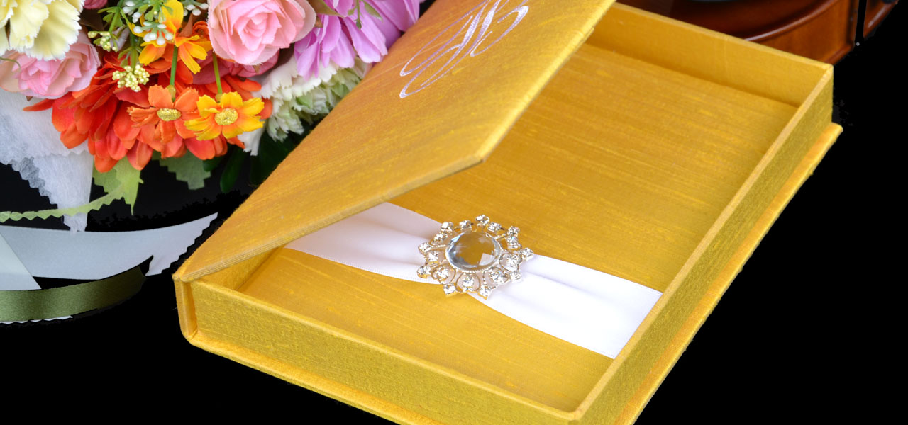 Thai Silk Dupioni Weddining Invitation Box Embellishments