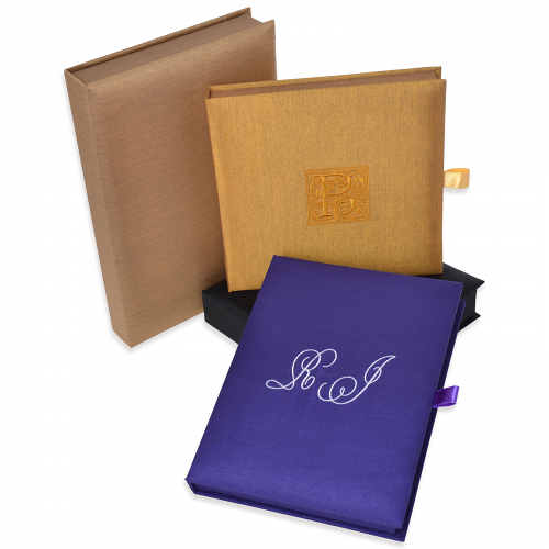 Book type Silk Invitation Box