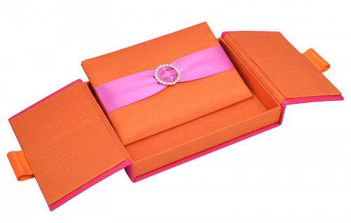 Two Tone Embellished Gatefold Silk Invitation Box