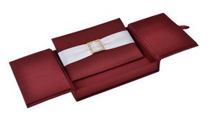 Embellished Gate fold Silk Wedding invitation box 5.5x7.5x1 inch in Burgundy