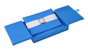 Embellished Gate fold Silk Wedding invitation box 5.5x7.5x1 inch in Blue