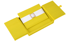 Embellished Gate fold Silk Wedding invitation box 5.5x7.5x1 inch in Yellow