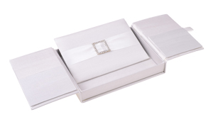 Embellished Gate fold Silk Wedding invitation box 5.5x7.5x1 inch in Off white