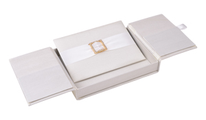 Embellished Gate fold Silk Wedding invitation box 5.5x7.5x1 inch in Ivory