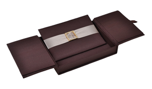 Embellished Gate fold Silk Wedding invitation box 5.5x7.5x1 inch in Chocolate