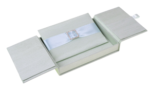 Embellished Gate fold Silk Wedding invitation box 5.5x7.5x1 inch in Light green