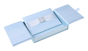 Embellished Gate fold Silk Wedding invitation box 5.5x7.5x1 inch in Icy blue