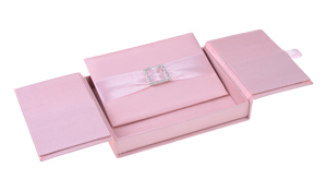 Embellished Gate fold Silk Wedding invitation box 5.5x7.5x1 inch in Pink