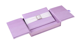 Embellished Gate fold Silk Wedding invitation box 5.5x7.5x1 inch in Lilac