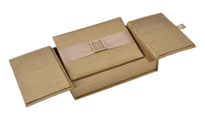 Embellished Gate fold Silk Wedding invitation box 5.5x7.5x1 inch in Pale gold