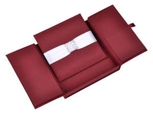 Embellished Gate fold Silk Wedding invitation box 7x7x1 inch in Burgundy