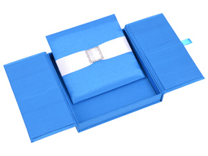 Embellished Gate fold Silk Wedding invitation box 7x7x1 inch in Blue