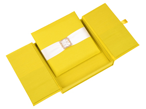 Embellished Gate fold Silk Wedding invitation box 7x7x1 inch in Yellow