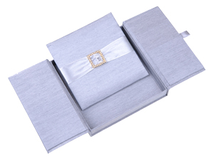 Embellished Gate fold Silk Wedding invitation box 7x7x1 inch in Silver