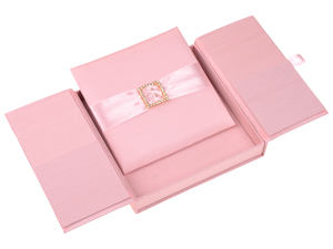 Embellished Gate fold Silk Wedding invitation box 7x7x1 inch in Dusty Pink
