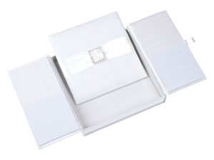 Embellished Gate fold Silk Wedding invitation box 7x7x1 inch in Ivory