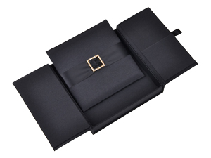 Embellished Gate fold Silk Wedding invitation box 7x7x1 inch in Black