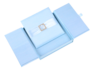 Embellished Gate fold Silk Wedding invitation box 7x7x1 inch in Icy blue