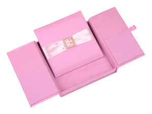 Embellished Gate fold Silk Wedding invitation box 7x7x1 inch in Pink
