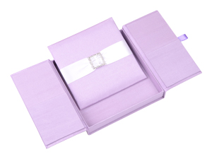 Embellished Gate fold Silk Wedding invitation box 7x7x1 inch in Lilac