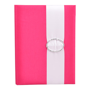 Embellished Silk Book Folios 6.5x9 inch in Hot Pink