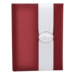 Embellished Silk Book Folios 6.5x9 inch in Burgundy