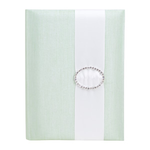 Embellished Silk Book Folios 6.5x9 inch in Light Green