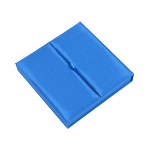 Gatefold Silk Invitation Box 7x7x1 inch in Blue