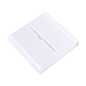 Gatefold Silk Invitation Box 7x7x1 inch in off white