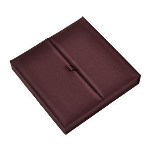 Gatefold Silk Invitation Box 7x7x1 inch in Chocolate