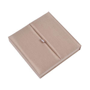 Gatefold Silk Invitation Box 7x7x1 inch in Champagne