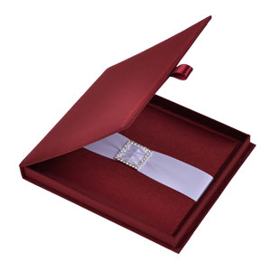 Silk Invitation Box Embellishments 6.5x7.5x0.5 inch in Burgundy