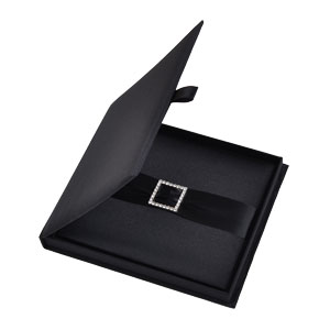 Silk Invitation Box Embellishments 6.5x7.5x0.5 inch in Black