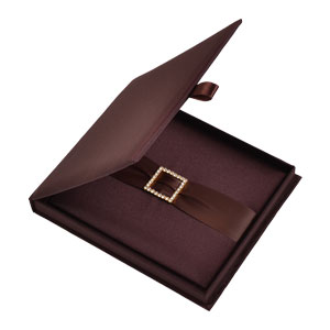 Silk Invitation Box Embellishments 6.5x7.5x0.5 inch in Chocolate
