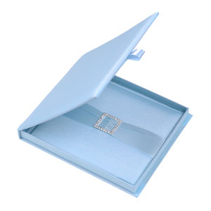 Silk Invitation Box Embellishments 6.5x7.5x0.5 inch in Icy Blue