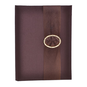 Embellished Silk Book Folios 6.5x9 inch in Chocolate