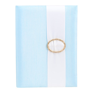 Embellished Silk Book Folios 6.5x9 inch in Icy Blue